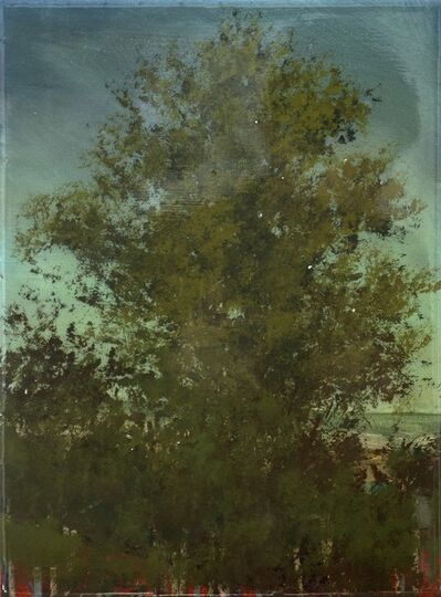 Peter Hoffer, 'Erable No 2 - small, green, mauve, tree, impressionist, acrylic, resin on panel', 2016