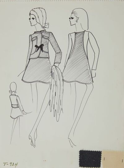 Karl Lagerfeld, 'Karl Lagerfeld Original Fashion Sketch Ink Drawing with Fabric T-724', 1963-1969