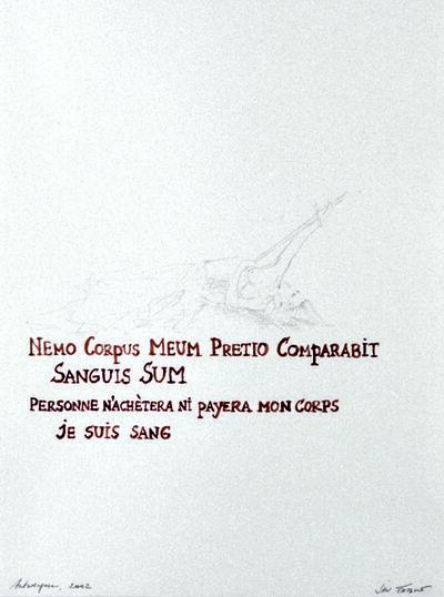 Jan Fabre, 'Nemo Corpus Meum Pretio Compabarit...', 2002