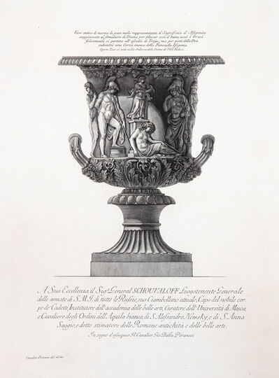 Giovanni Battista Piranesi, 'Large marble vase decorated with a relief of the sacrifice of Iphigenia', 1773-1778