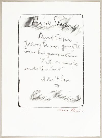 Rene Ricard, 'David Shapiro', 1989