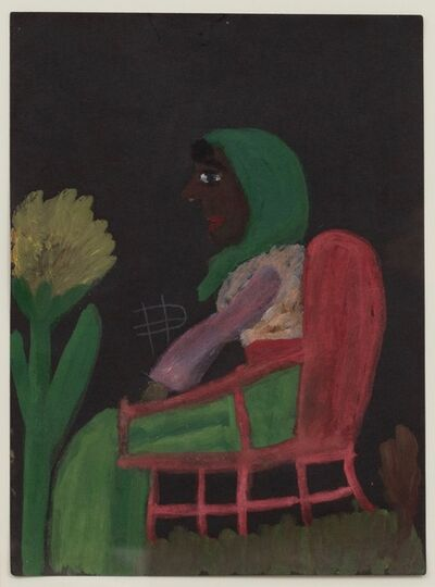 Clementine Hunter, 'Untitled (Woman on Chair)', ca. 1940's