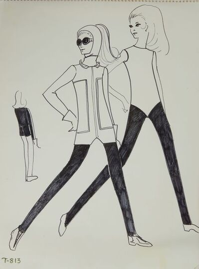 Karl Lagerfeld, 'Karl Lagerfeld Original Fashion Sketch Ink Drawing with Marker T-813', 1963-1969