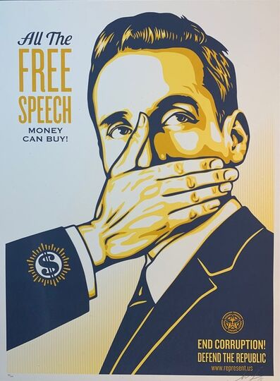 "Shepard Fairey (OBEY), 'Shepard Fairey ""Pay Up Or Shut Up!"" Free Speech Edition 2015 VOTE Represent US Political Art ', 2015"