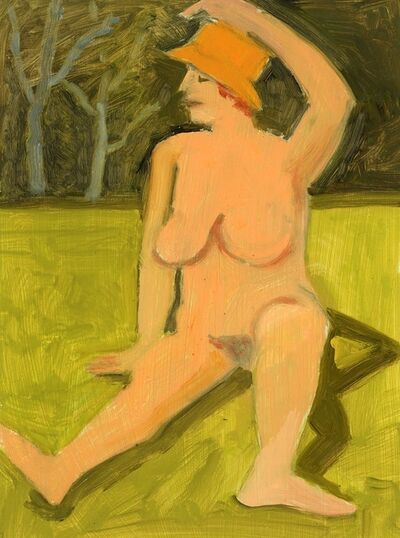 Lois Dodd, 'Nude Seated on Grass with Yellow Hat', 2018
