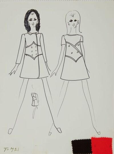 Karl Lagerfeld, 'Karl Lagerfeld Original Fashion Sketch Ink Drawing with Fabric Swatch T-721 Contemporary Art', ca. 1963 -1969