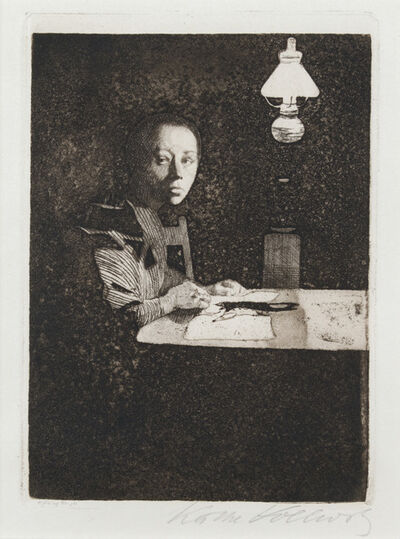 Käthe Kollwitz, 'Self-Portrait at the Table', 1893