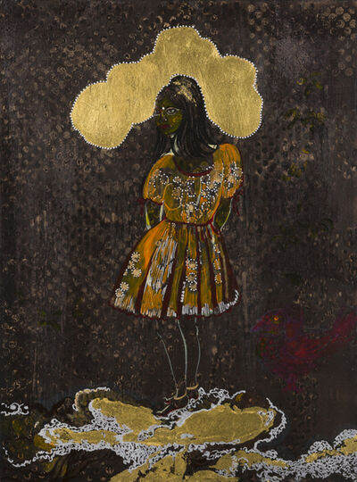 Rina Banerjee, 'Clouds of warm gold punctured by pearls with cool luster rested like pillow on her nape's crane and then a meditative shyness overcame her, although she was stark and ascetic her mood changed – was deeply luxurious, bathed in a industrious Heritage. Her culture had many corridors, courtyards why not one for each tenant.', 2012