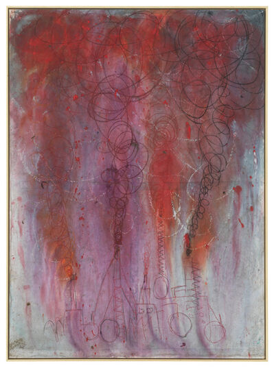 Andrej Dubravsky, 'Big factory with red, purple and dark smoke', 2019