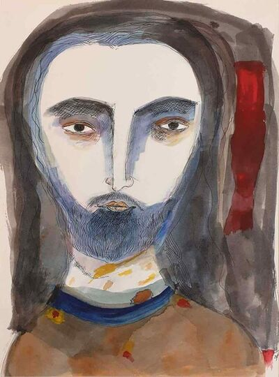"Badri Narayan, 'Jesus the Christ, Watercolor on Paper, Brown, Blue, Red by Indian Artist Badri Narayan ""In Stock""', 2007"