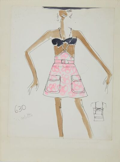 Karl Lagerfeld, 'Karl Lagerfeld Original Fashion Sketch Ink Drawing with Watercolor 630-2', 1963-1969