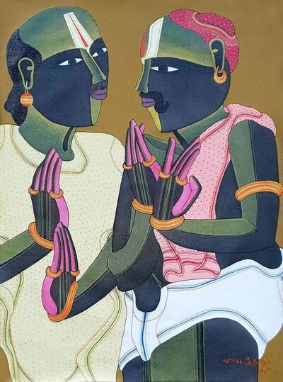 "Thota Vaikuntam, 'Pandits, Acrylic on Canvas by Modern Artist ""In Stock""', 2018"