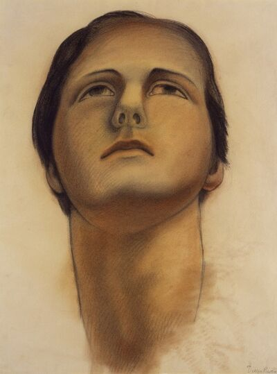 Diego Rivera, 'Untitled (Head of the soaring figure), study for ceiling of the mural Allegory of California, Pacific Stock Exchange Luncheon Club, San Francisco', 1931