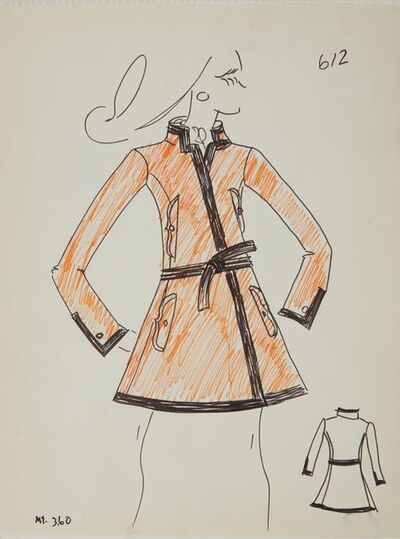 Karl Lagerfeld, 'Karl Lagerfeld Original Fashion Sketch Ink Drawing with Marker 612 Contemporary', 1963-1969