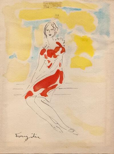 Léonard Tsugouharu Foujita, 'Femme assise sur le banc ', 1954