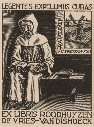 Maurits Cornelis Escher, 'BOOKPLATE D. H. ROODHUYZEN DE VRIES-VAN DISHOECK (BOOL/KIST/LOCHER/WIERDA 325)', 1942