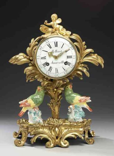 "Johann Joachim Kändler, 'A gilt-bronze pendulum clock with two Meissen parrots ""medium sort""', ca. 1750"
