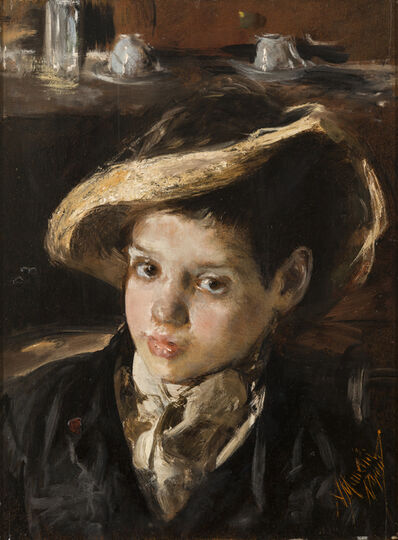 Antonio Mancini, 'The broken straw hat', 1875
