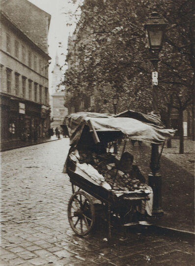 André Kertész, 'Pushcart on Cobblestone Street with Lamp Post, Budapest, Hungary', 1919