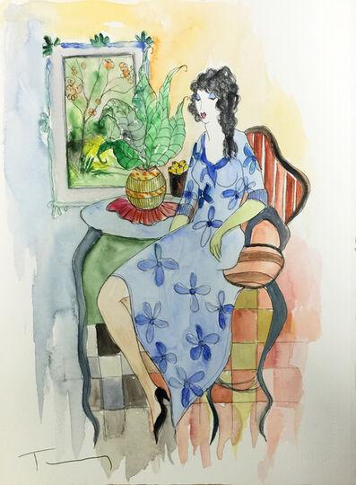 Itzchak Tarkay, 'UNTITLED (WOMAN IN BLUE DRESS)', UNKNOWN