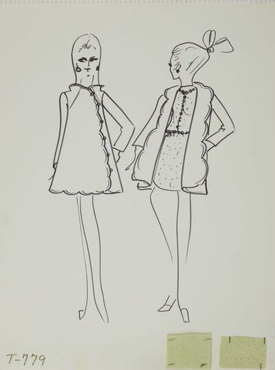 Karl Lagerfeld, 'Karl Lagerfeld Original Fashion Sketch Ink Drawing with Fabric  T-779', 1963-1969
