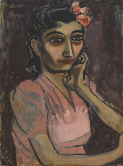 Alice Neel, 'Girl with Pink Flower', ca. 1940s