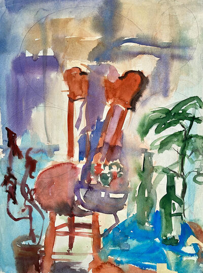 Ian Hornak, 'Untitled (Abstract Still Life with Chair, Flowers and Bottles)', 1963