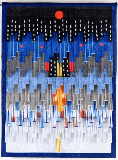 Abdoulaye Konaté, 'Composition en gris et bleu (cercles rouges)', 2020
