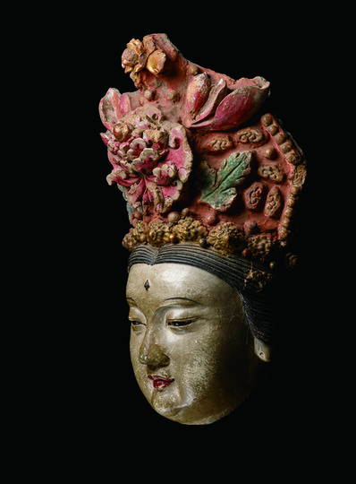 Unknown Chinese, 'Large Painted and Gilded Stucco Head of a Bodhisattva 元14世紀 鍍金灰泥彩繪菩薩首像', China: Yuan Dynasty, 14th century, stand
