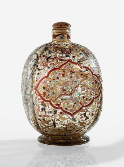"Emile Gallé, '""Cavalier Persan"" Covered Bottle', circa 1884"