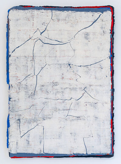 Kanchana Gupta, 'Edges and Residues 19 - Cerulean Blue, Cadmium Red and Cold Grey on White', 2020