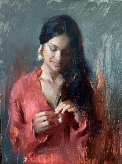 Suchitra Bhosle, 'Contemplation in Red', 2021