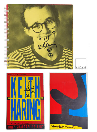 """Keith Haring, '2-PIECE SET:  Keith HARING, 1987, """"Self Portrait"""", Signed/Doodle & Keith HARING/Andy WARHOL, 1987, SIGNED Shafrazi Invitation UNIQUE', 1987"""