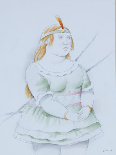 Fernando Botero, 'Dancer with green tutu and with an orange plumed headband', 2007