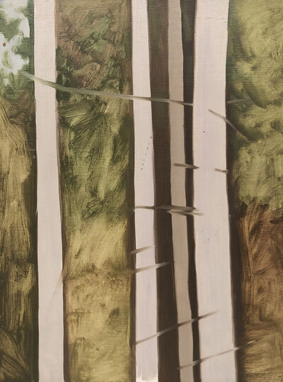 Lois Dodd, '4 Tree Trunks', 1975