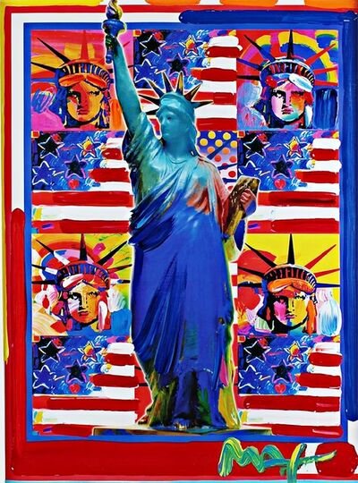 Peter Max, 'Five Statues of Liberty with Blue Statue of Liberty', 2001