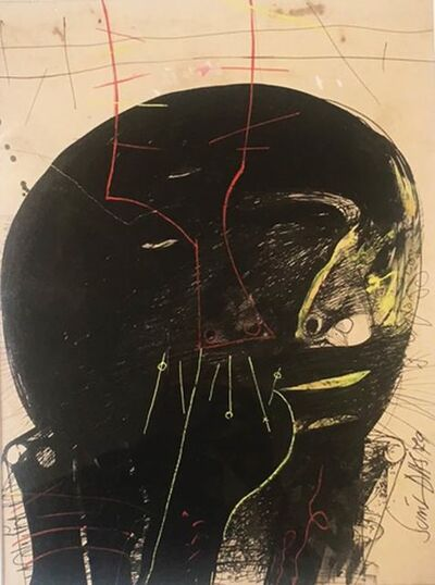 """Sunil Das, 'Solid Black Head, Human Face, Drawing, Ink & Lithograph, Red, Green """"In Stock""""', 1979"""