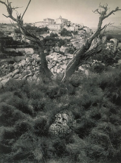 Jerry Uelsmann, 'Untitled, Gord, France (Stone head/ancient city)', 1998