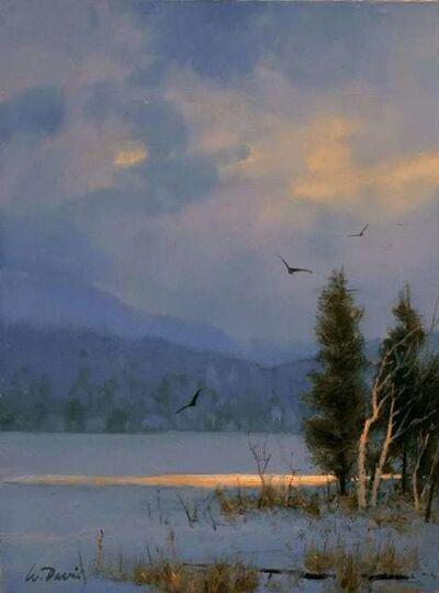 William R. Davis, 'Winter Cedars and Birch', 2021
