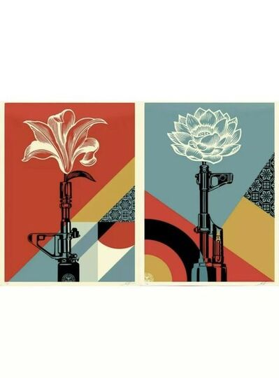 Shepard Fairey, 'Shepard Fairey OBEY AK-47 LOTUS & AR-15 LILY Signed & Numbered Vietnam War Prints Diptych ', 2020