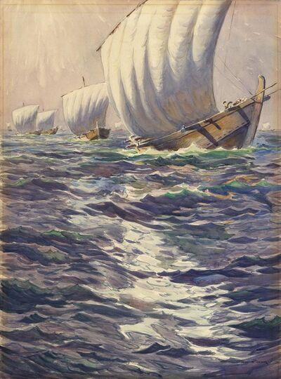 Martin Lewis, 'Tomohotku, Sailboats on Choppy Water.', ca. 1920