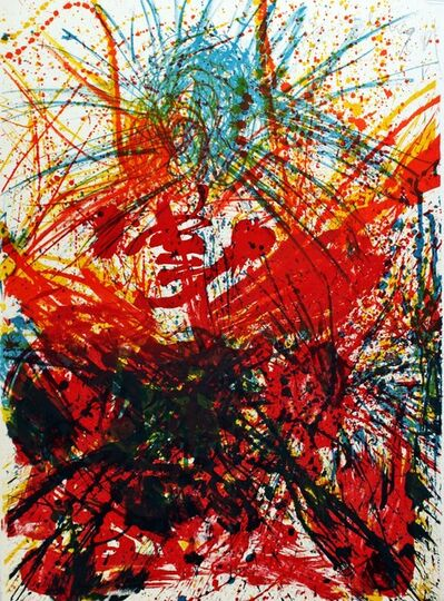 Walasse Ting 丁雄泉, 'Untitled Abstract Expressionist Mid Century Color Lithograph', 1961