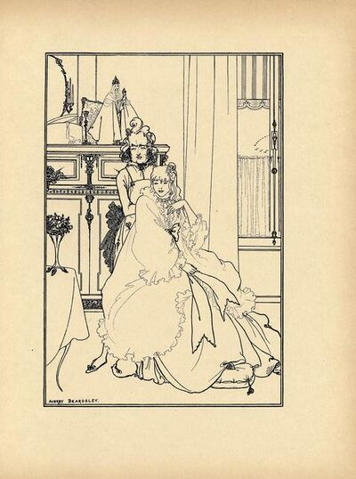 """Aubrey Beardsley, '""""The Coiffing"""" printed in No. 3 of The Savoy', ca. 1896"""