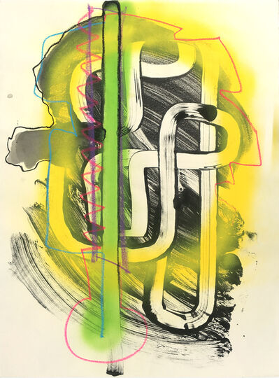 Vivian Liddell, 'Yellow Glow - Constructed Pathway Patterns in Abstract Drawing, with Yellow, Green and Black Colors', 2016
