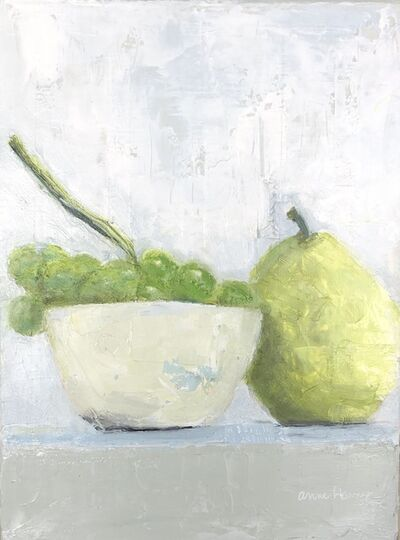 "Anne Harney, '""Grapes and Pear"" impressionist style still life oil painting of green grapes and a white bowl', 2020"