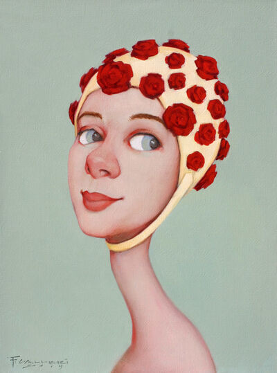 "Fred Calleri, '""Rosy Disposition"" Oil painting of a woman in a red flowered bathing cap with a grey background', 2019"
