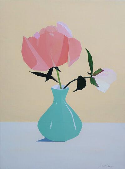 Greta Van Campen, 'Coral Peony in Turquoise Vase', 2020