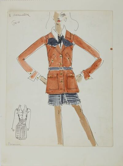 Karl Lagerfeld, 'Karl Lagerfeld Original Fashion Sketch Ink Drawing with Watercolor 600', ca. 1963 -1969