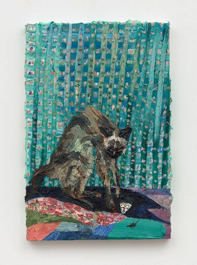 Allison Schulnik, 'Green Gin with White Moth', 2019