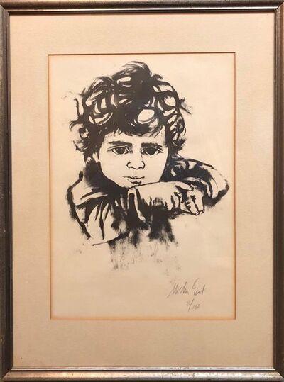Moshe Gat, 'Lithograph Israeli Modernist Judaica, Kibbutz Boy, Bezalel Artist', Mid-20th Century